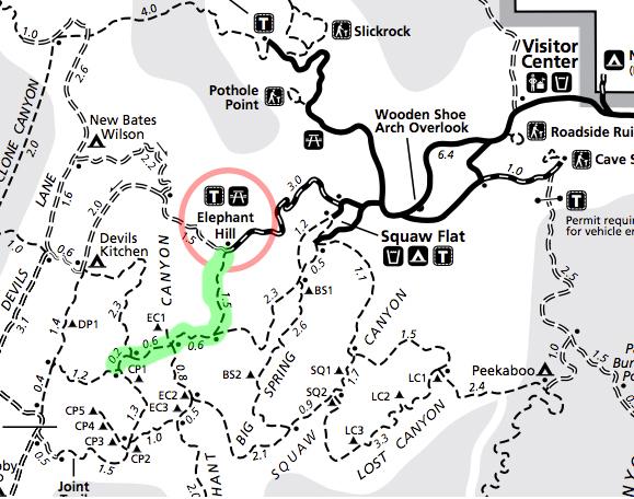 canyonlands-needles-map-elephant-hill-trailhead